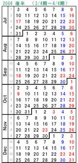 2006後半カレンダー