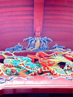 伊豆山神社拝殿 龍の滝登り