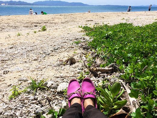ピンクのクロックスと民泊のビーチコーミング