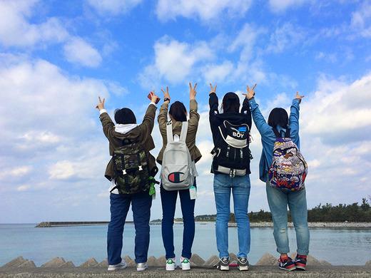 伊江島水中観光船終了後のポーズ