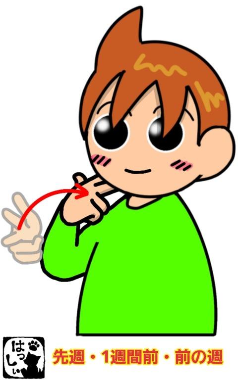 手話単語:860 【先週】【前の週】【一週間前】 : 手話しゅわSHUSHUSHU