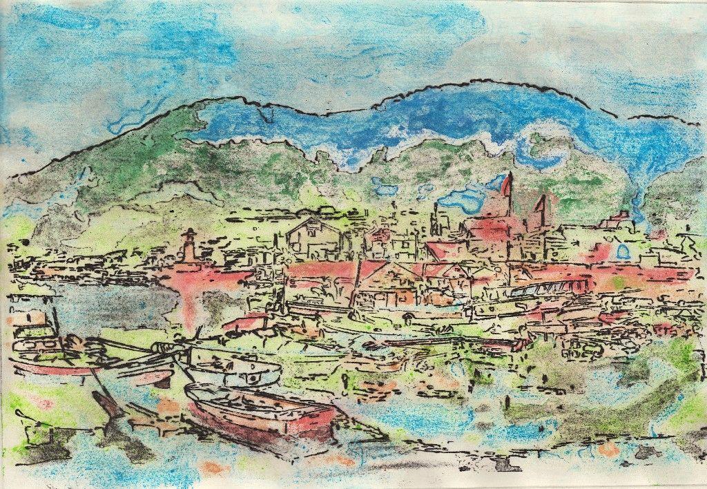 銅版画 鞆港 (655Wx455H)