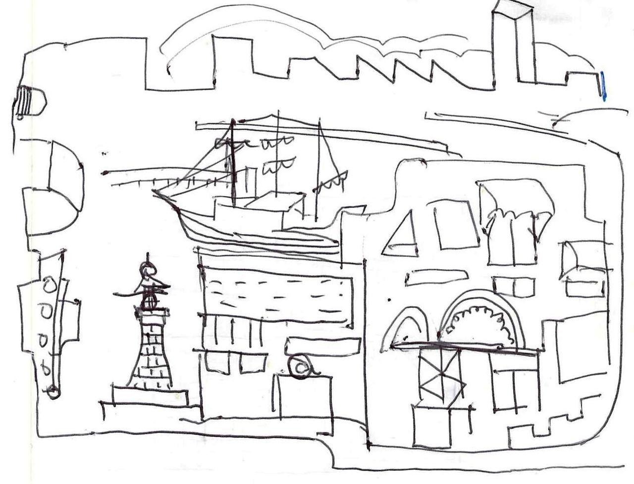 銅版画  F市の街 制作その1