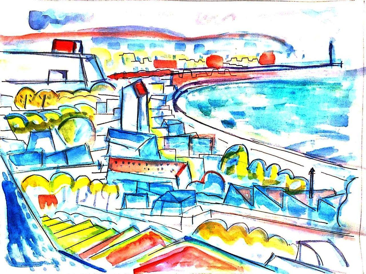 F市の漁港 (銅版画) 経過2