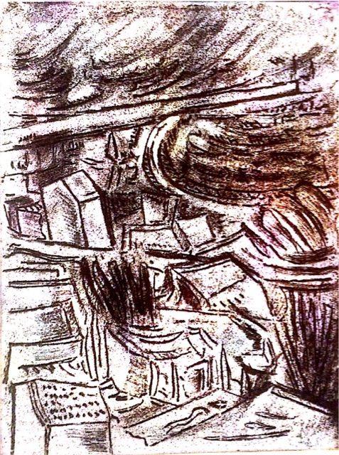 銅版画 F市の港