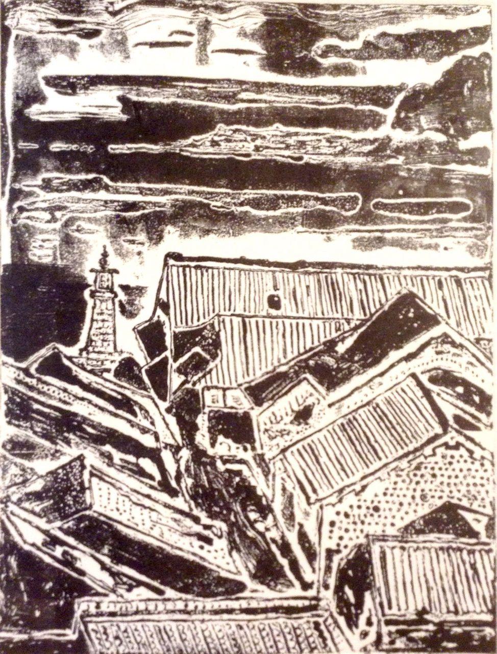 銅板画 F市の屋根(仮題) 経過報告3