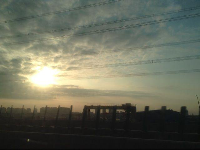上海の夕日