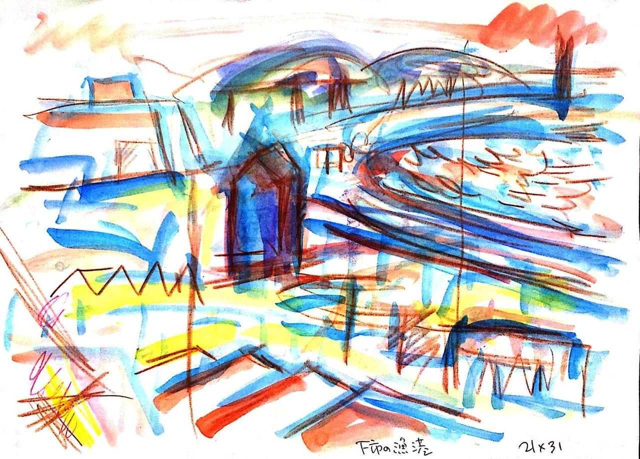 F市の漁港 (銅版画) 経過1