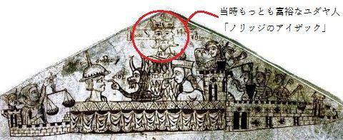 ノリッジ城の城壁の上に集うユダヤ人たち 最も古い戯画