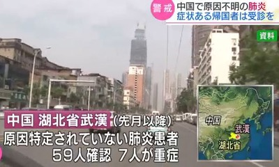 湖北省武漢市で謎の肺炎