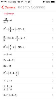 答えを出した計算式の履歴