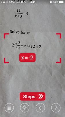 iPhoneカメラで方程式を認識し、答えを表示しています。