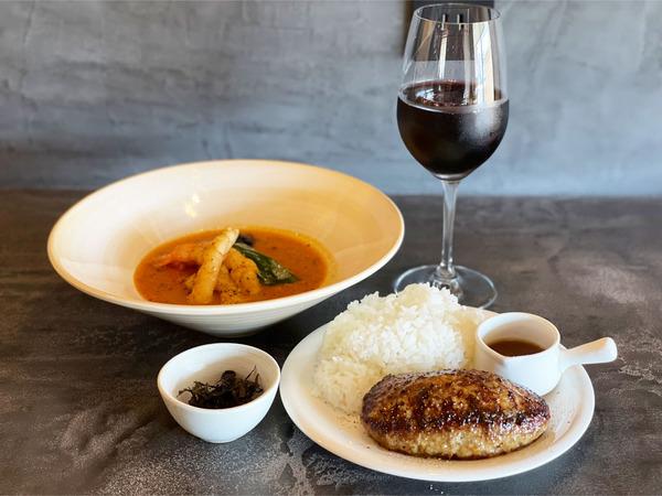01海老だしのスープカレー&ハンバーグ(1620円)