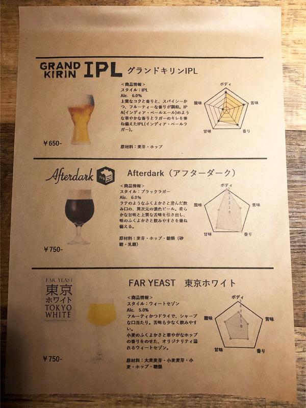 27ビールメニュー