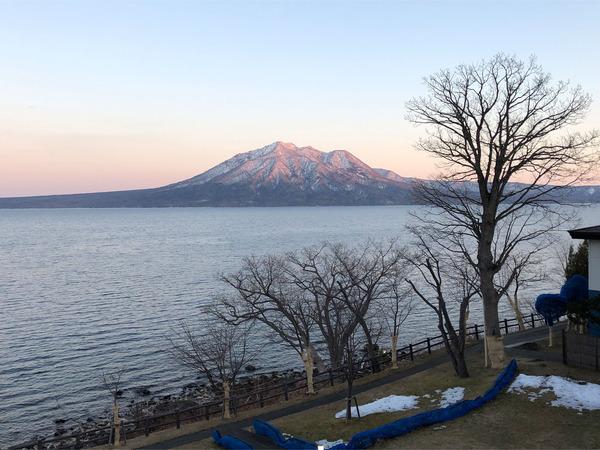53夕焼けと支笏湖と風不死岳