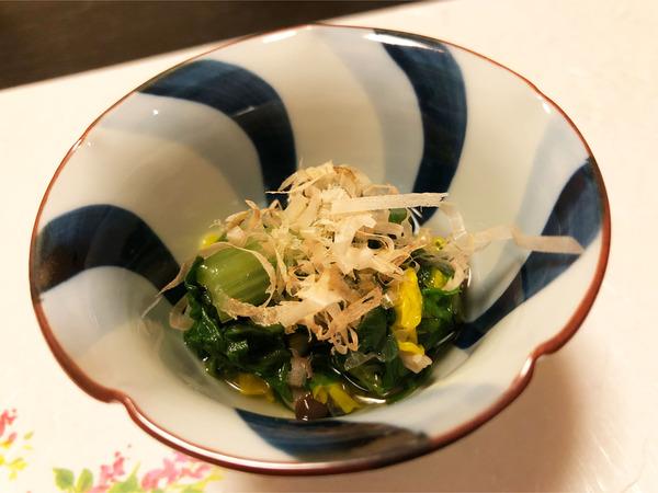 03菊菜と菊の花のお浸し