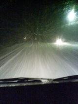 夜中の雪道