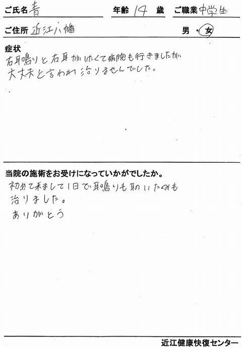 s-耳鳴り・耳痛 青 中学