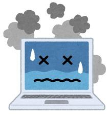 困った顔のノートパソコン‐パソコントラブル