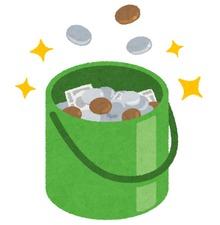 投げ銭入った緑色の缶