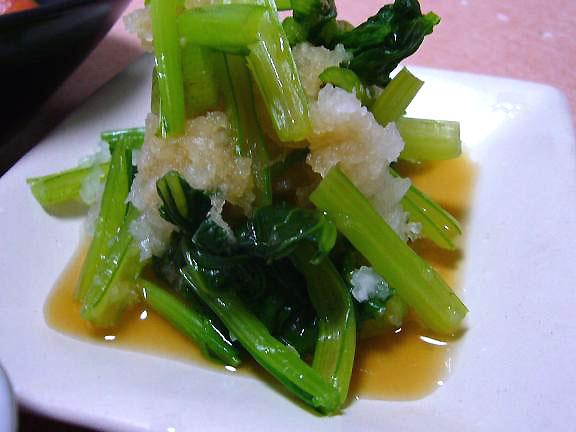 小松菜のおろし和え→ゆずを効かせたポン酢で・・