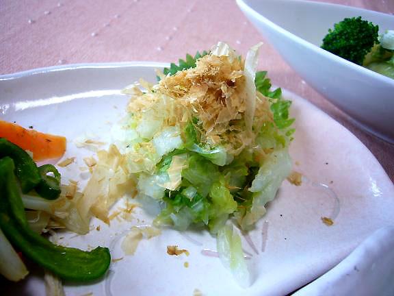 白菜のお浸し→昨日はキャベツじゃなくて白菜なの。