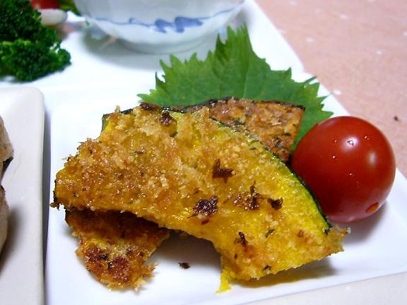 南瓜の香り焼き→ほんのりチーズの香りが・・南瓜は油と相性がいいね