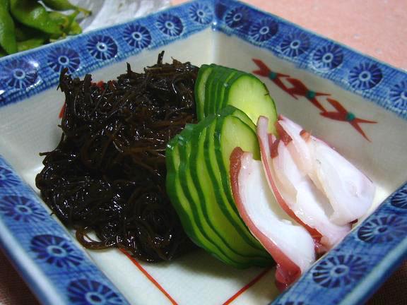 もずくと蛸→オットは酢の物より山葵醤油の方が好きなんです