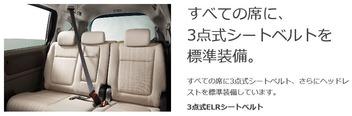 キャプチャ すべての席に3点式シートベルトを装備