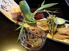 じゅんさい いかめし 筍 ズッキーニ 生姜みそを挟んで 山桃 いかなごのぐき煮