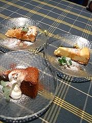 デザート(林檎のタルト、ゴルゴンゾーラのチーズケーキ、ガトー・ショコラ)