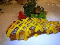 桜鯛 サフランとガーリックのソース、 クリスタルリーフ