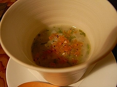 自家製野沢菜の間引き菜とからすみのお粥