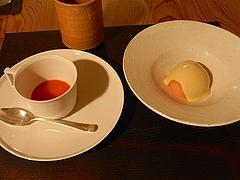 熟し柿のスープと紅玉のソルベ