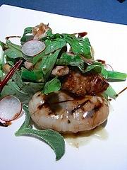 平貝、リー・ド・ヴォー、シャラン鴨のサラダ