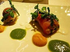 サーモン・海老と柿、アジ・アボガドと蟹、クレソンと柿のソース