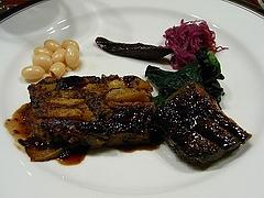 鹿肉とインカのめざめのテリーヌ 、ロースのステーキ、栗粉
