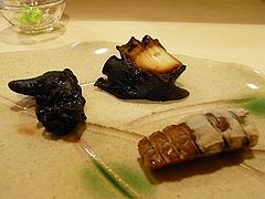 千葉県富津の蛸の桜煮、 岡山のシャコ、アワビの肝