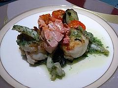 アンコウのポワレ、白バイ貝のエスカルゴバター炒め