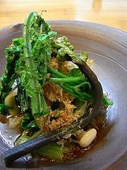 春のおひたし コゴミとコシアブラとウド、えのき、かき菜