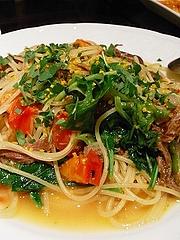 鴨肉のコンフィとシシトウのスパゲッティ オレンジ風味