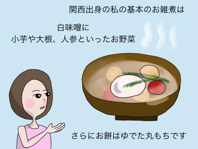 関西出身の私の基本のお雑煮は 白味噌に小芋や大根、人参といったお野菜 さらにお餅はゆでた丸もちです