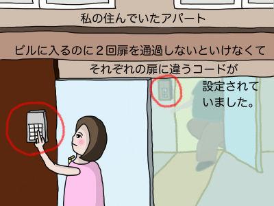 私の住んでいたアパート ビルに入るのに2回扉を通過しないといけなくて それぞれの扉に違うコードが設定されていました。