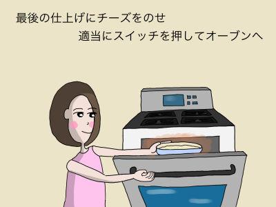 最後の仕上げにチーズをのせ 適当にスイッチを押してオーブンへ