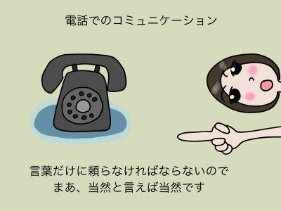 電話でのコミュニケーション 言葉だけに頼らなければならないので まあ、当然と言えば当然です
