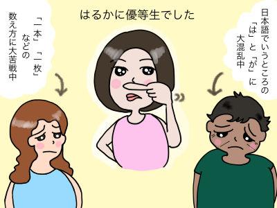はるかに優等生でした 日本語でいうところの「は」と「が」に苦労中 「一本」「一枚」などの数え方に大苦戦