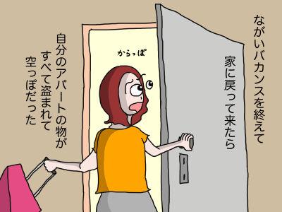 ながいバカンスを終えて家に戻って来たら自分のアパートの物がすべて盗まれて空っぽだった