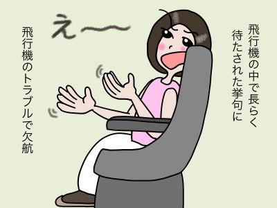 飛行機の中で長らく待たされた挙句に飛行機のトラブルで欠航