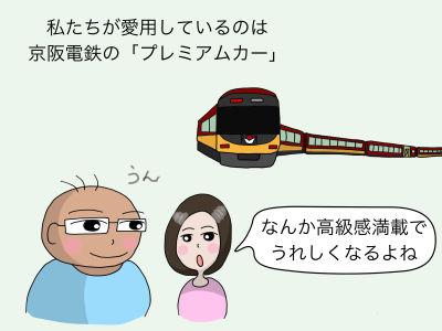 私たちが愛用しているのは京阪電鉄の「プレミアムカー」「なんか高級感満載でうれしくなるよね」