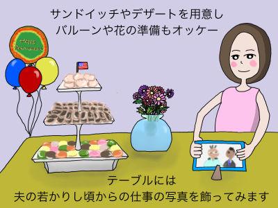 当日のサンドイッチやデザートの予約注文をし バルーンや花の準備もオッケー テーブルには夫の若かりし頃からの仕事の写真を飾ってみます。
